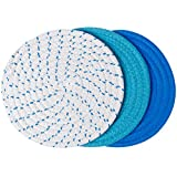 100% Cotton Thread Weave Pot Holders, Hot Pads, Pot Holders, Spoon Rest, Jar Opener & Coasters, For Cooking and Baking, Diameter 7 Inches, Round, Set of 3, Blue Set