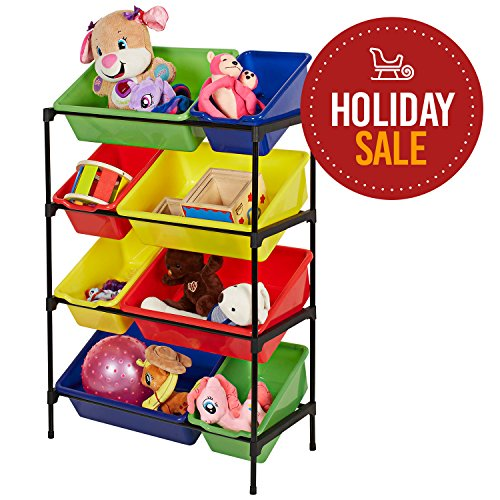 Toy Storage Organizer, Eight Removable Multicolored Bins, 4-Tier