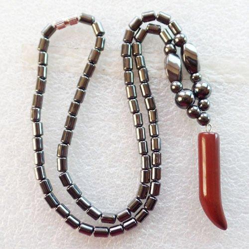 red jasper - Beautiful Mixed Gemstone Pepper & Hematite Necklace 17.5 inch XLZ-531