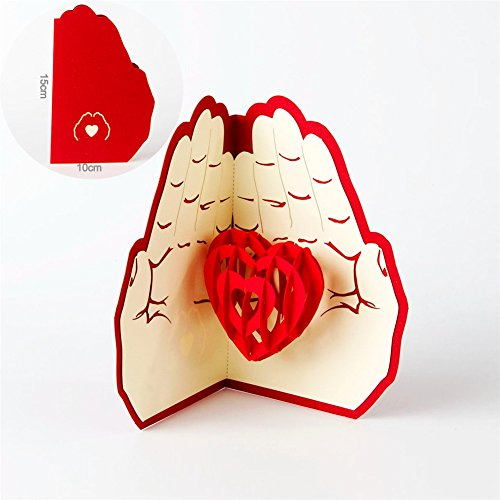 Paper Spiritz Love In The Hand 3D Pop up Greeting Card Postc