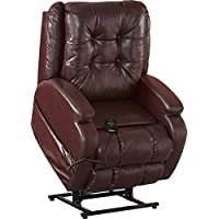 Catnapper Jenson Power Lift Full Lay-Flat Recliner with Comfort Coil Seating Featuring Comfor-Gel - Dual Motor Comfort Function - Plush Seat - Polyester (Burgundy) - Weight Capacity 400lb.