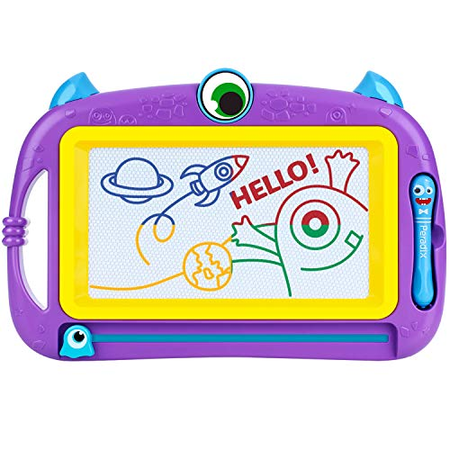 Peradix Kids Magnetic Drawing Board, Mini Size Drawing Board 12.6X8.3inch Portable Monster Magna Doodle Board Erasable Writing Painting Sketching Pad