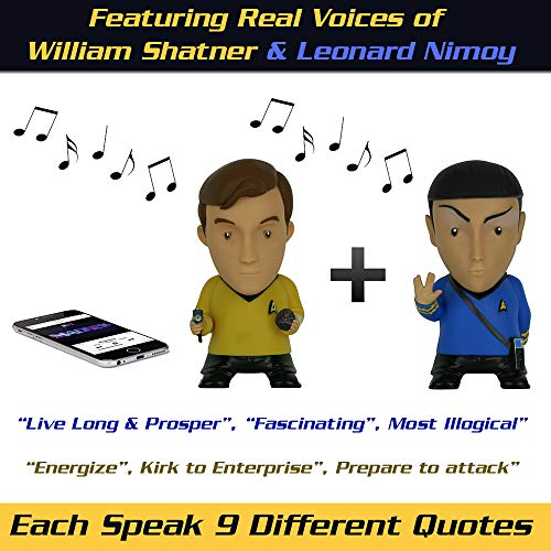 Star Trek Action Figures | Kirk & Spock Talking Bluetooth Speakers (Pair) Plays Music & Speaks 9 TOS Phrases voiced by Nimoy & Shatner - Unique Collectibles, Gifts, Memorabilia for Star Trek Fans -
