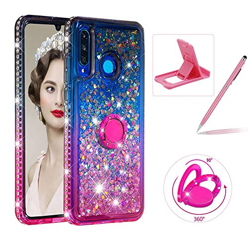 Liquid Clear Case for Huawei P30 Lite,Soft TPU Cover for Huawei P30 Lite,Herzzer Luxury Gray Pink Gradient Color Love Hearts Quicksand Flexible Crystal Diamond Case with 360 Ring Holder
