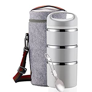 Lille Stackable Stainless Steel Thermal Lunch Box (2nd Gen) 3-Tier Insulated Bento Box/Food Container with Insulation Lunch Bag and Foldable Stainless-Steel Spoon | Kids, Adults | Women, Men