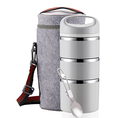 Lille Home Stackable Stainless Steel Thermal Compartment Lunch Box (2nd Gen) 3-Tier Insulated Bento Box/Food Container with Insulated Lunch Bag and Foldable Stainless Steel Spoon | Women, Men (Grey)