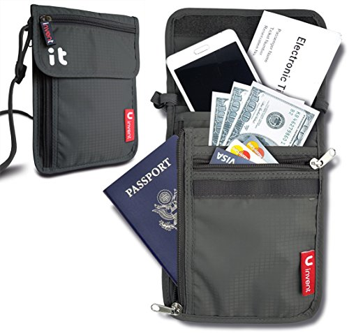 Neck Wallet W Rfid Blocking Concealed Travel Pouch