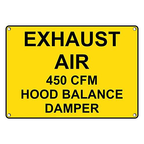 Weatherproof Plastic Exhaust Air 450 Cfm Hood Balance Damper Sign with English Text