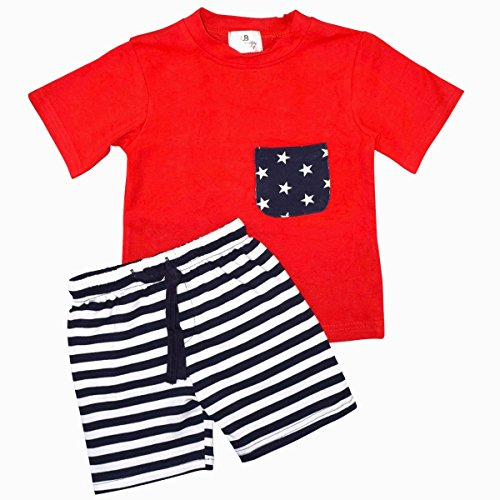 Unique Baby Boys Patriotic 4th of July 2-Piece Summer Outfit (3t, Red)