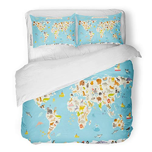 Emvency Decor Duvet Cover Set King Size Animals World Map Colorful Cartoon for Children and Kids Preschool Education 3 Piece Brushed Microfiber Fabric Print Bedding Set Cover