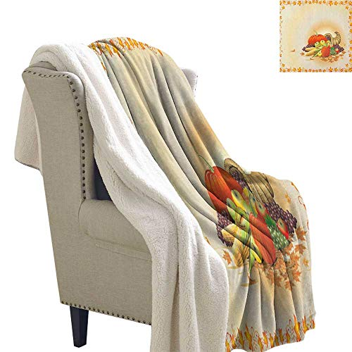 Suchashome Harvest Velour Blanket Maple Tree Frame with Rustic Composition for Thanksgiving Halloween Dinner Food Blanket Small Quilt 60x78 Inch -