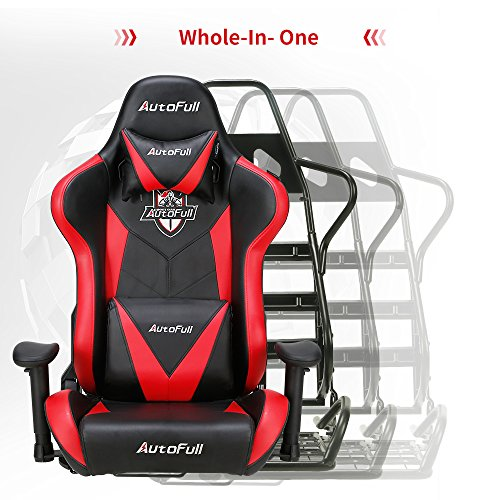 AutoFull Computer Chair - Adjustable PU Leather Swivel Game Chair with and Lumbar