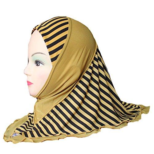 Scarf Stripe 3 (Cogongrass Girls Kids Muslim Hijab Islamic Arab Scarf Shawls Stripe Pattern Double Layers about 45cm for 3 to 8 years old Girls)