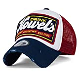 ililily Howel's Distressed Vintage Cotton Baseball Mesh Cap Snapback Trucker (Navy Red)
