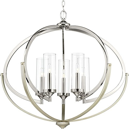 Progress Lighting P400117-104 Evoke Five-Light Chandelier, Polished Nickel
