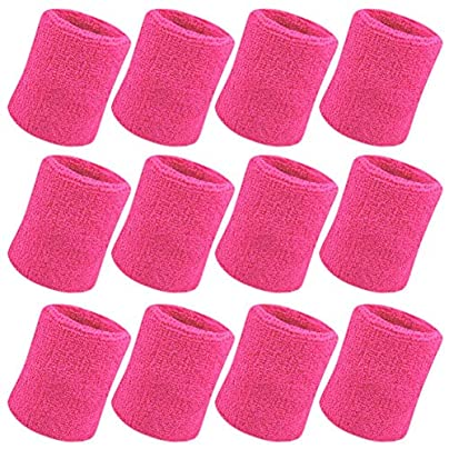 EUYOUZI Sweatband Wrist Sweatband Pack Inch Sports Sweatband Wristband Soft Thicken Cotton for Tennis Gymnastics Football Basketball Running Athletic Sports Rose-red Estimated Price £7.99 -