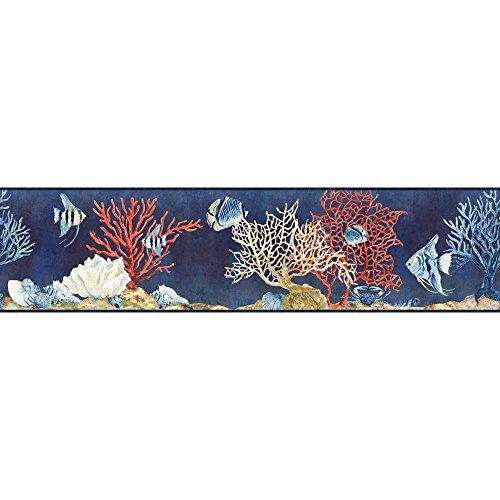 York Wallcoverings Portfolio II Indigo Sea Border Removable Wallpaper, Navy ()