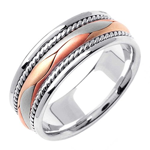 Two Tone Platinum and 18K Yellow Gold Braided Basket Weave Men's Wedding Band (8mm) Size-12.5c2