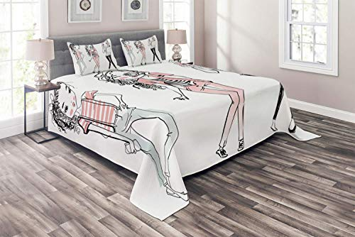Fashion Coverlet Set Queen Size, Sketch Cute Cartoon Design Girls with Makeup Clothes Illustration Image, 4 Piece Decorative Quilted Bedspread with 2 Pillow Shams, Pale Pink White Black -