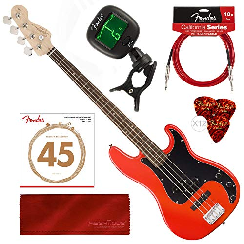 (Squier by Fender Affinity Series Precision Bass PJ Beginner Electric Bass Guitar, Race Red Bundle with Tuner, Strings, Picks, Cable & Cloth Starters Pack)