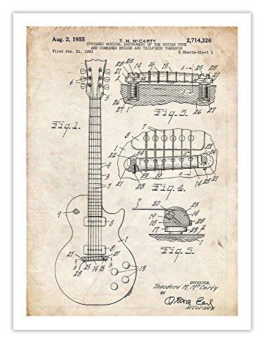 Gibson Les Paul Guitar Poster 1955 Patent Art Print