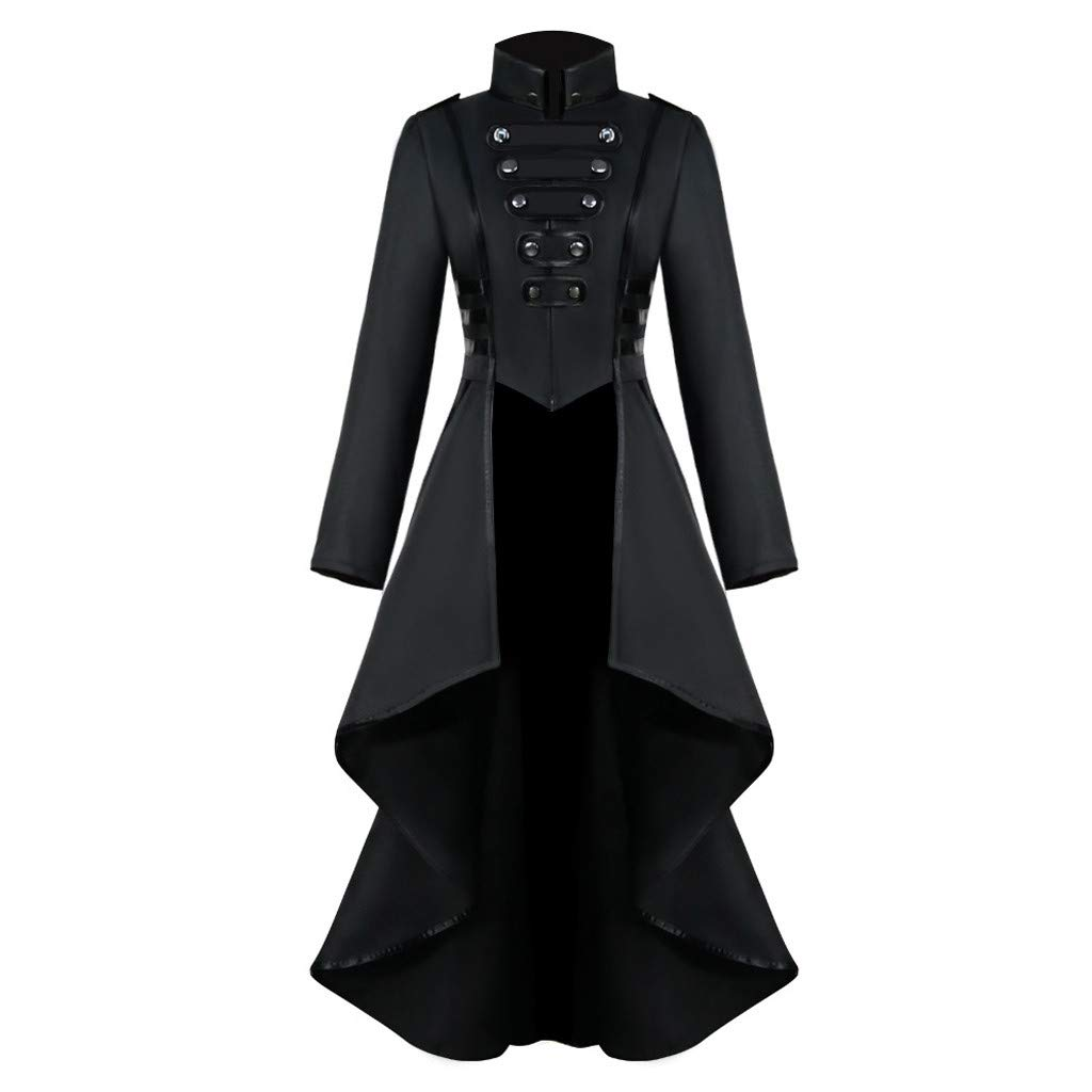Kstare Steampunk Coat Casual Jackets Retro Victorian Punk Women Long-Sleeved Waist Back Bandage Over Coat Skirt (Black-A, L) by Kstare Coat
