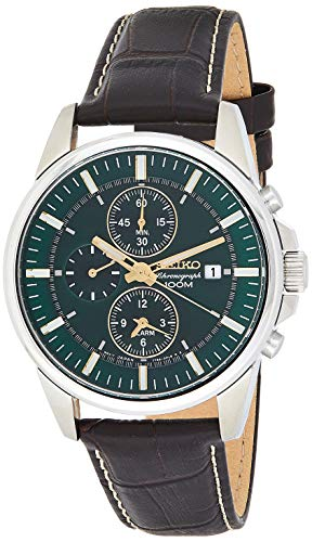 Seiko #SNAF09 Men's Leather Band Green Dial Alarm Chronograph Watch (Seiko Sna765 Alarm Chronograph)