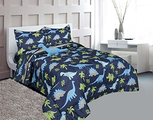 - MB Home Collection Full Size 8 pieces Printed Blue Lime green Design Comforter, Sheet Set with 1 Pillow Cushion Toy # Full Size 8 Pcs Comforter Dinosaur Blue