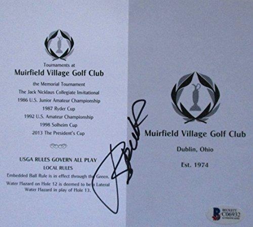 (Jordan Spieth Signed Muirfield Village Golf Club Scorecard Beckett BAS Holo)