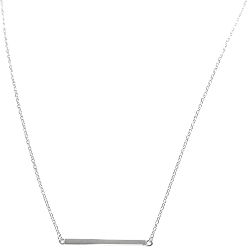 Sterling Silver Thin Polished Bar Pendant Adjustable Necklace 18/""