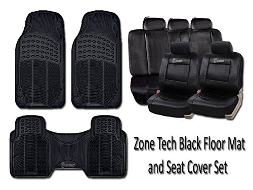 Zone Tech Classic Black 3 Piece Durable Full Rubber Premium Quality All Weather Vehicle Floor mats and 11 Piece Luxury Universal Fit Interior Decor PU Leather Car Seat Cover Set