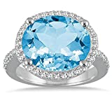 Silvostyles 8 Carate oval Blue Topaz & Simulated Diamond Ring In 14K White Gold Plated