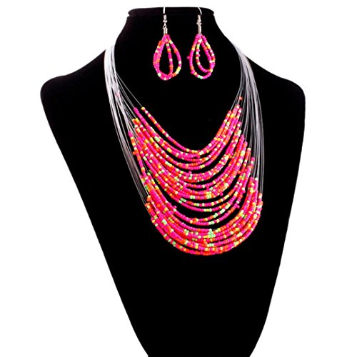 Clearance Deal! Hot Sale! Necklace, Fitfulvan 2018 Jewelry Multicolor Multi-layer Resin Beads Necklaces and Earrings Set Mother's Day Pendant Necklace Gifts Jewelry (Hot Pink)
