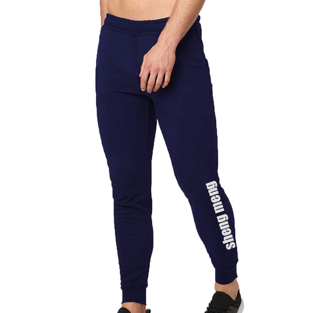 WUAI Mens Casual Pants Outdoors Running Jogger Drawstring Athletic Skinny Pants Sweatpants for Men(Navy,US Size XS = Tag S)