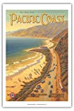 See the Sunny Scenic Pacific Coast - California - Pacific Electric (Red Car) - Vintage Style World Travel Poster by Kerne Erickson - Master Art Print - 12 x 18in