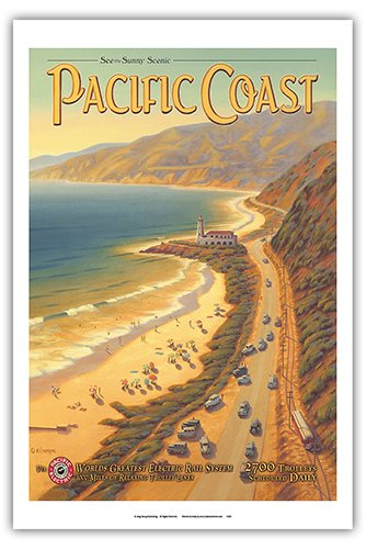 See the Sunny Scenic Pacific Coast - California - Pacific Electric (Red Car) - Vintage Style World Travel Poster by Kerne Erickson - Master Art Print - 12 x 18in by Pacifica Island Art