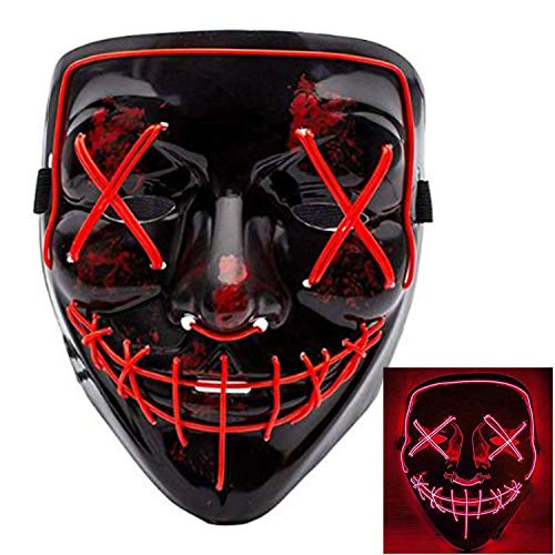 SATKULL Halloween Scary Mask Cosplay LED Costume Mask EL Wire Light up for Halloween Festival Party (red)
