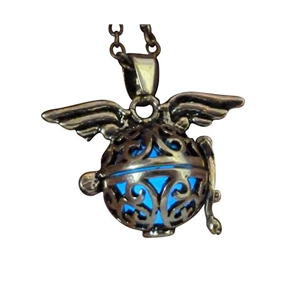 UMBRELLALABORATORY Steampunk Fairy Necklace Blue Glow in The Dark Gold Tone Wings 5