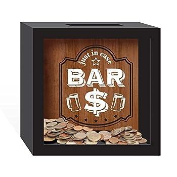Prinz 6 X 2.5 X 6 Inch 'Just In Case, Bar $' Wood bank