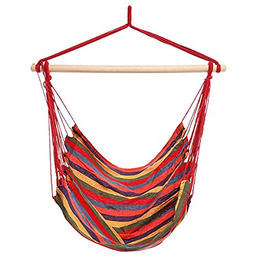 Dtemple Durable 265 lb Hanging Hammock Chair Colorful Hanging Swing Set for Indoor and Outdoor US STOCK (color stripes) by Dtemple