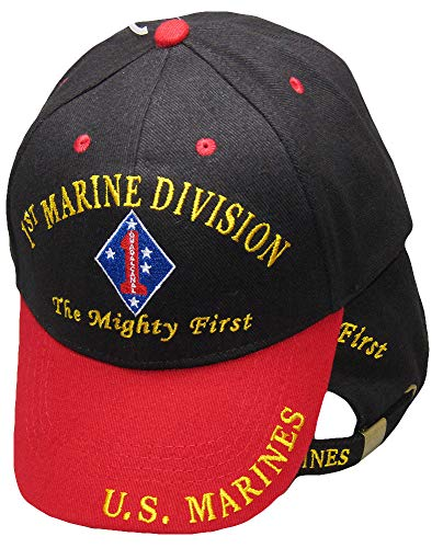 K's Novelties 1st Marine Division The Mighty First U.S. Marines Black Red Embroidered Cap Hat (Division Hat Marine)