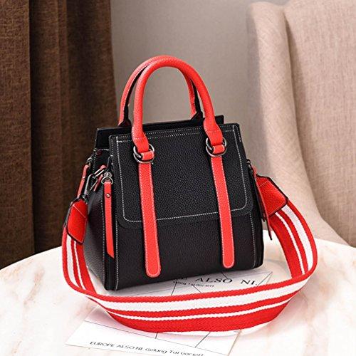 Shoulder Shoulder Black Bag Bucket Casual Messenger Zipper Comfortable amp;Red ZhiYuanAN Bags Handbag Fashion Wide Strap Women wqz7n6f