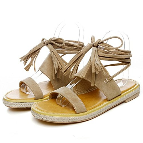 Gladiator Fringe Sandals Ankle apricot Summer TAOFFEN Flat Slingback Women Strap Lace ZqFntxCSw5