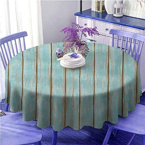 """Outdoors Round Tablecloth Wood Print Old Fashioned Weathered Rustic Planks Summer Cottage Beach Coastal Theme Pale Blue Tan Diameter 50"""""""