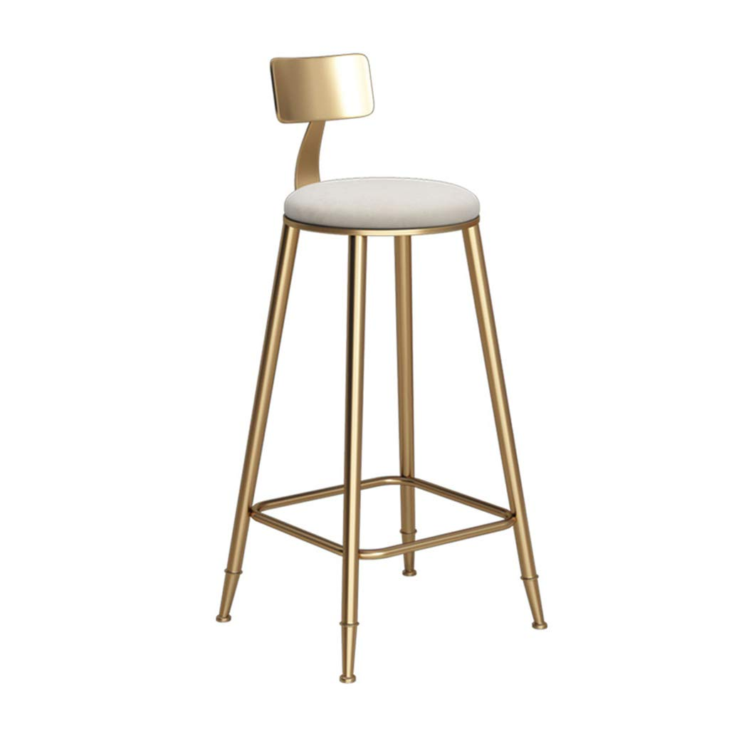 45CM Modern Bar Stool Kitchen Pub Breakfast Dining Chair Counter Modern Style gold Metal Frame Soft Cushion Safety Seat Max Load 150 kg(White Cushion) (Size   45CM)