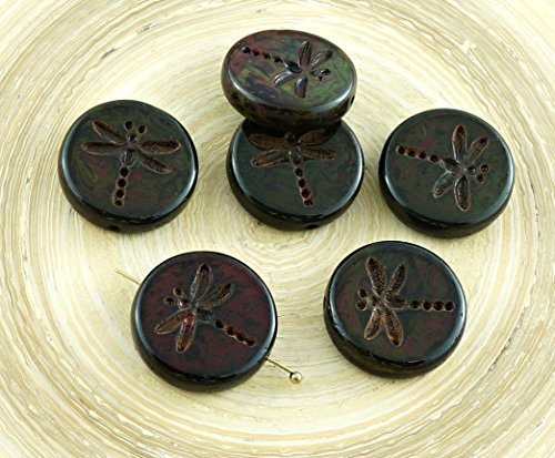 Dragonfly Beads Glass (4pcs Picasso Green Brown Travertine Matte Rustic Dragonfly Flat Coin Round Czech Glass Beads 17mm)