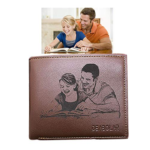 Custom Photo Wallets Men's Leather Classic Genuine Leather Trifold Personalized Wallet Money Clip,Brown Double Side