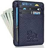 Estalon Genuine Leather RFID Blocking Credit Card Holder Case, Minimalist front Pocket Slim Wallet With ID Window (Navy) (Navy Pebble)