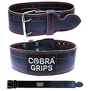 """Weight Power Lifting Belt 4"""" Wide Cobra Grips Premium Genuine Leather Belt For Men & Women Adjustable Weightlifting Back Support (RED, Small 27""""-35"""")"""