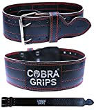"#8: Weight Power Lifting Belt 4"" Wide Cobra Grips Best Premium Genuine Leather Belt For Men & Women Adjustable Weightlifting Back Support"